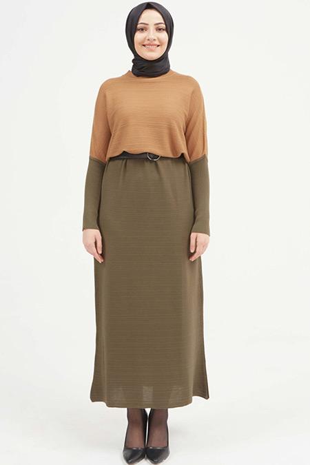 Setrms Camel Haki Safari Detay Triko Elbise