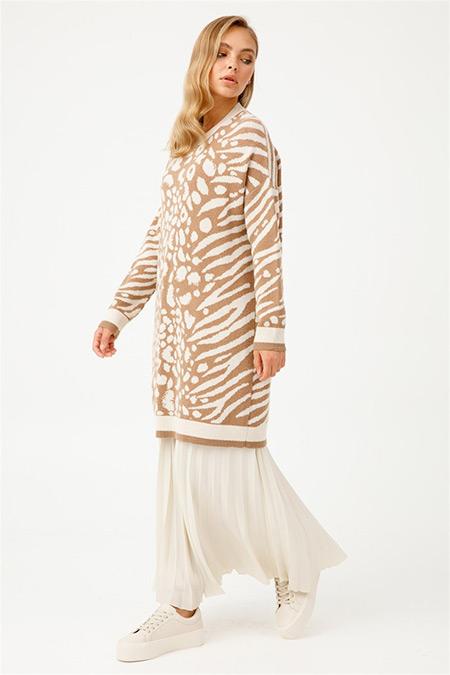 Tığ Triko Camel Animal Desenli Triko Tunik