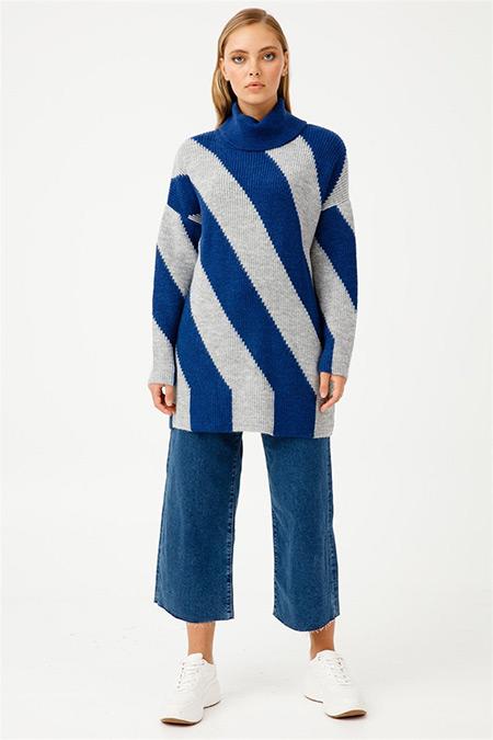 Tığ Triko Mavi Salaş Yaka Çizgili Triko Tunik