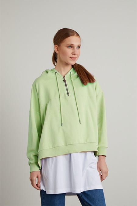 TERZİ DÜKKANI Nil Yeşili Life Kısa Sweatshirt