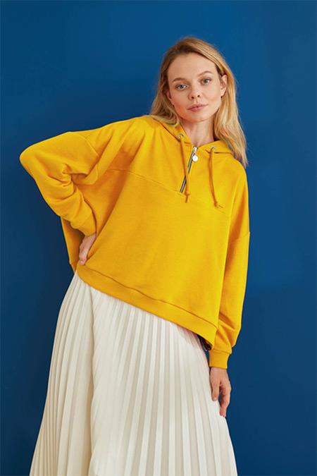TERZİ DÜKKANI Sarı Life Kısa Sweatshirt