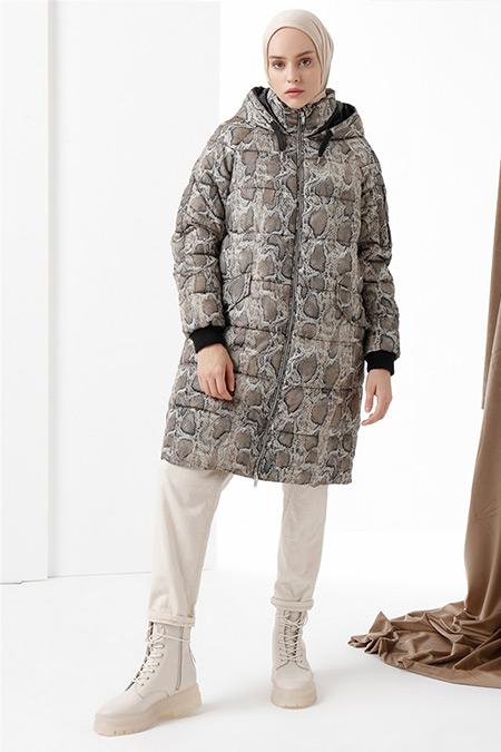 Vero Moda Bej Yılan Derisi Baskılı Şişme Mont