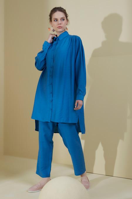 Normcore Mavi Doğal Kumaşlı Tunik & Pantolon Takım