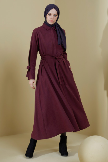 Normcore Kol Detaylı Pamuklu Doğal Kumaş Elbise