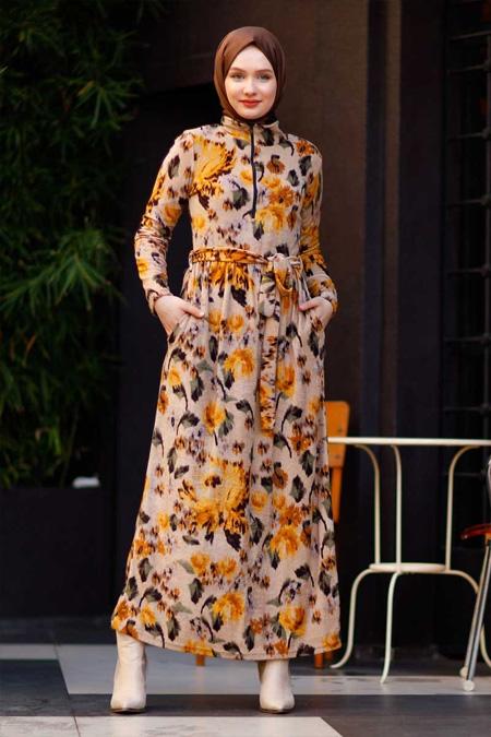Çiçekli Fermuarlı Hardal Tesettür Elbise