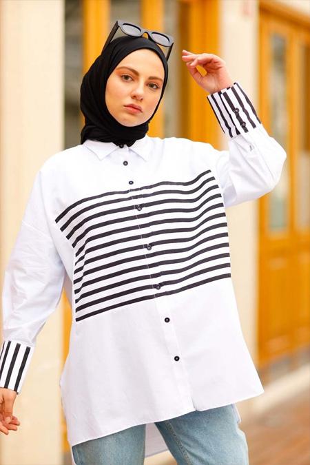 Çizgi Detaylı Beyaz Tesettür Gömlek