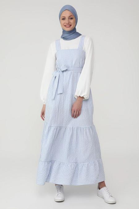 Benin Mavi Kalın Askılı Büzgü Detaylı Kareli Elbise
