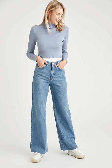 Defacto Açık Mavi Wide Leg Yıkamalı Jean Pantolon