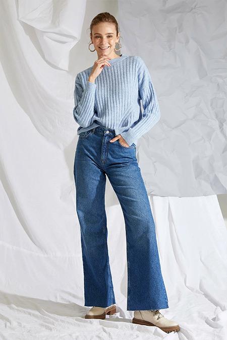 Defacto Koyu Mavi Flare Fit Jean Pantolon