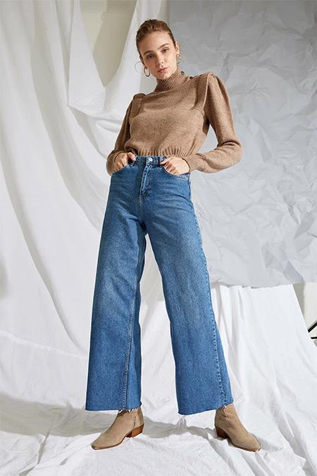 Defacto Koyu Mavi Wide Leg Jean Pantolon