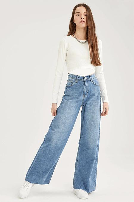 Defacto Koyu Mavi Wide Leg Yıkamalı Jean Pantolon