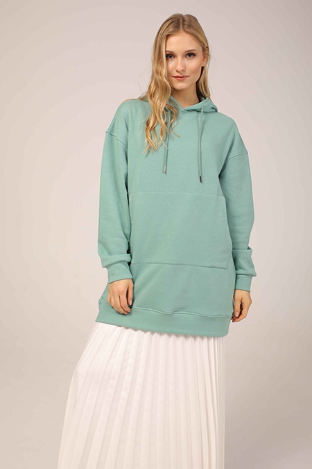 Ebu Prive Mint Hoodie Kapüşonlu Sweatshirt