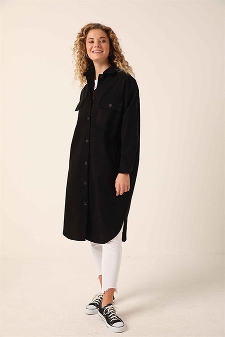 Ebu Prive Siyah Denim Gabardin Uzun Ceket