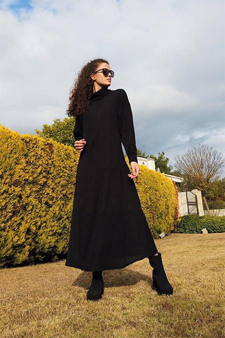 Etha Siyah Triko Elbise