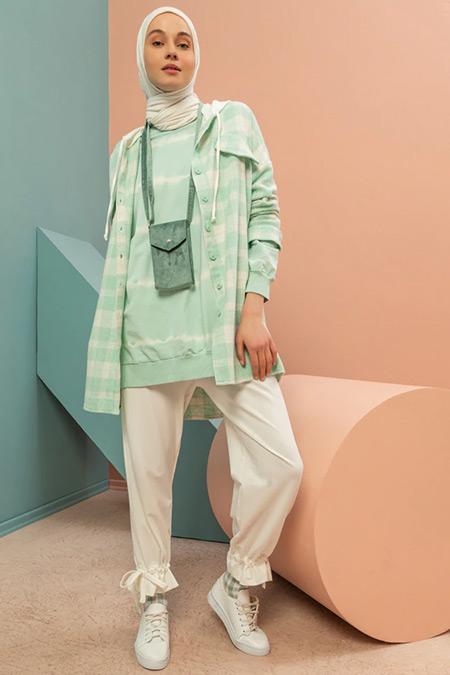 LOREEN Mint Yeşili Kare Desenli Kapüşonlu Tunik