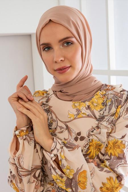 Loreen Ekru Çiçek Desenli Elbise