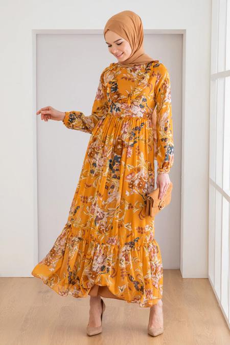 Loreen Hardal Çiçek Desenli Elbise
