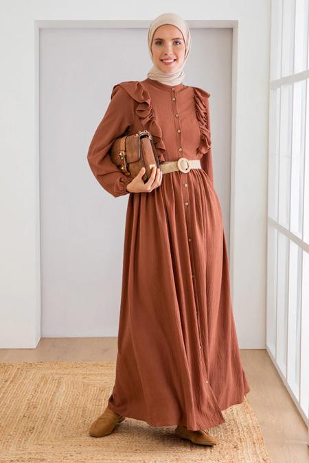 Loreen Kahve Fırfır Detaylı Elbise