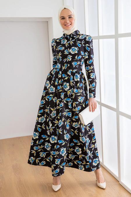 Loreen Siyah Desenli Elbise