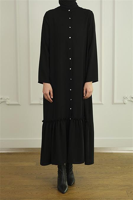 Merve Dağlı Siyah Fırfır Detaylı Elbise