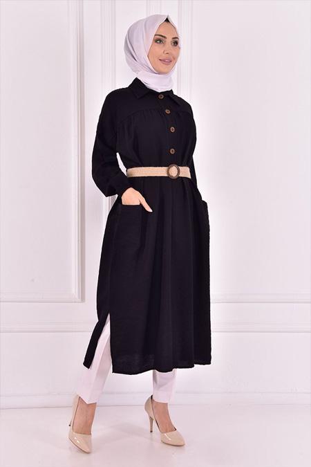 Modamerve Düğmeli Siyah Tunik