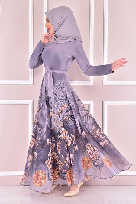 Modamerve Gri Şifon Elbise