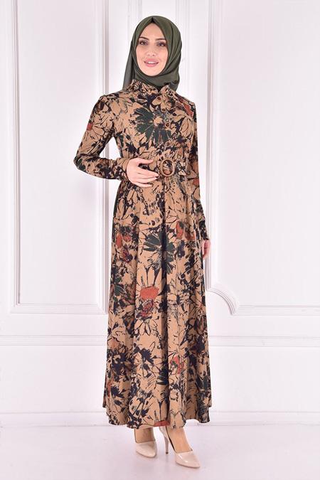 Modamerve Haki Kemerli Elbise