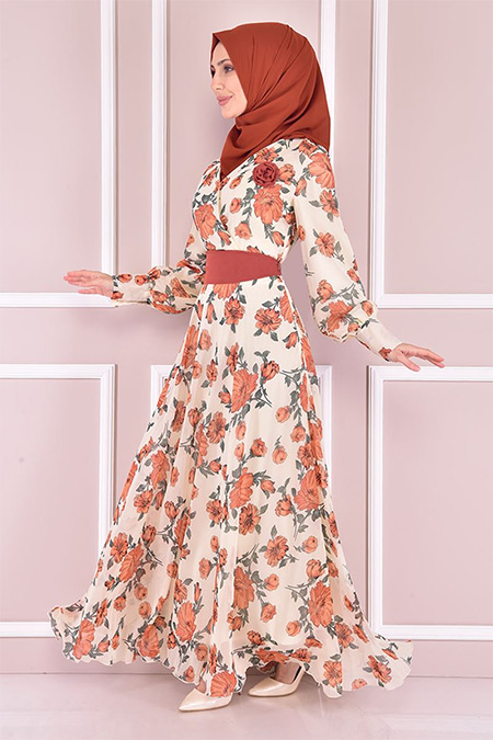 Modamerve Kiremit Şifon Elbise