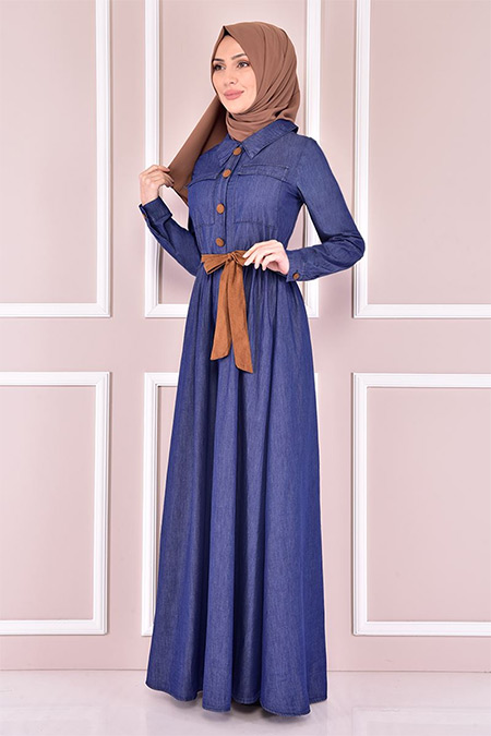 Modamerve Lacivert Kot Elbise