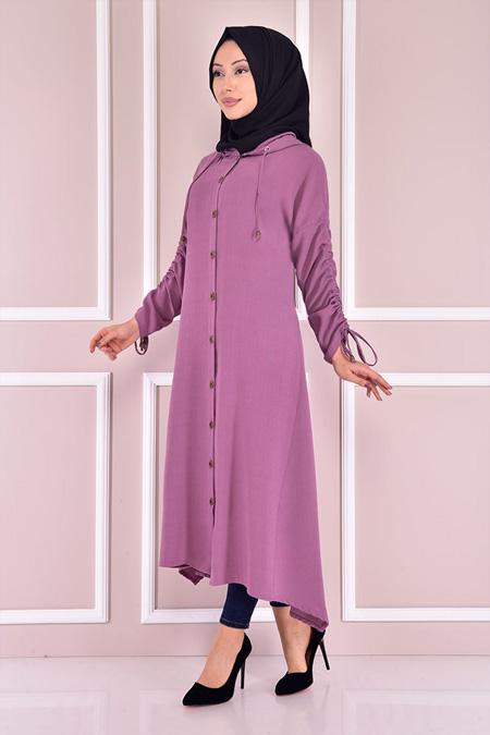 Modamerve Lila Kapüşonlu Tunik