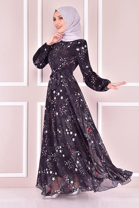 Modamerve Siyah Şifon Elbise