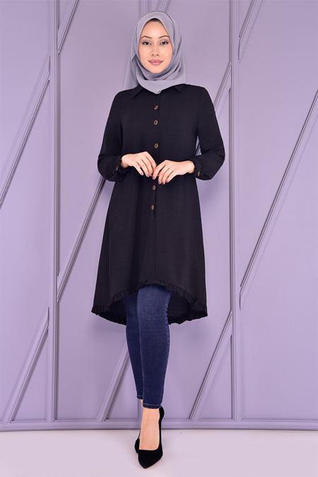 Modamerve Siyah Fırfırlı Tunik
