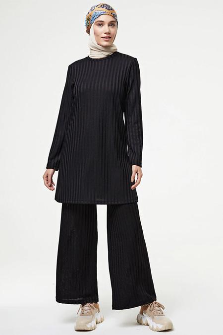 Muni Muni Siyah Tunik Pantolon İkili Takım