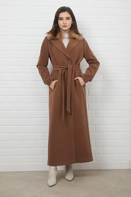 Olcay Kahverengi Düğme Kapamalı Palto