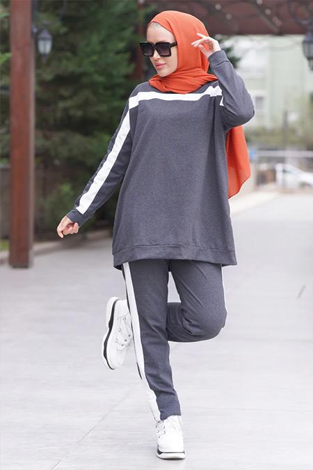 Por La Cara Koyu Gri Biyeli Tunik&Pantolon İkili Takım