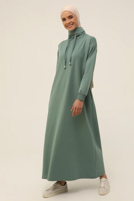 Refka Basic Koyu Çağla Boğazlı Yaka Cepli Elbise