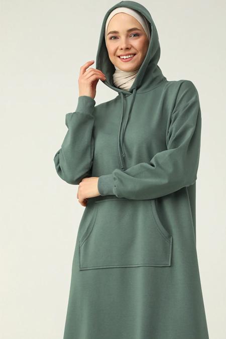 Refka Basic Koyu Yeşil Kanguru Cepli Kapüşonlu Elbise