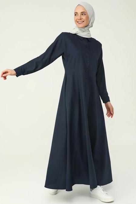Refka Basic Lacivert Boydan Düğmeli Elbise