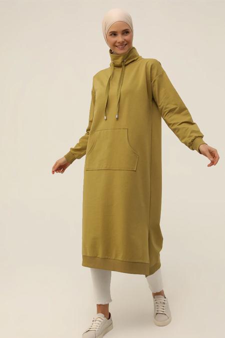 Refka Basic Yağ Yeşili Boğazlı Yaka Cepli Sweatshirt