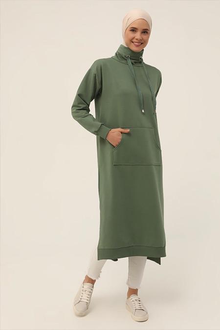 Refka Basic Yaprak Yeşili Boğazlı Yaka Cepli Sweatshirt