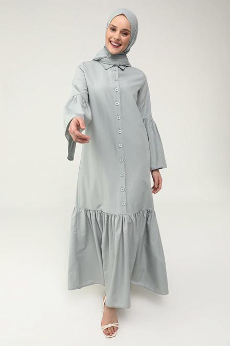 Refka Casual Gök Mavi Volanlı Pamuklu Elbise