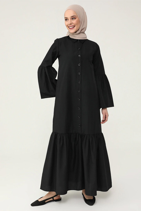 Refka Casual Siyah Volanlı Pamuklu Elbise