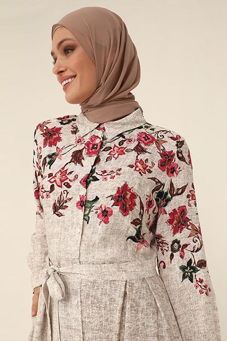 Refka Woman Bej Doğal Kumaşlı Kuşaklı Gömlek Elbise