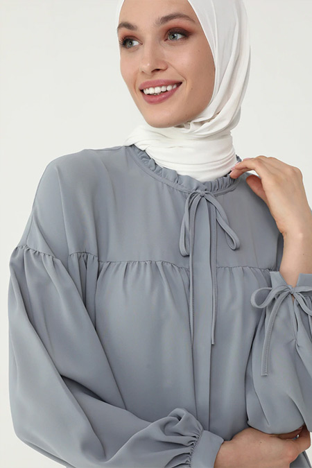 Refka Woman Gri Mavi İpek Tuşeli Bağlama Detaylı Salaş Tunik