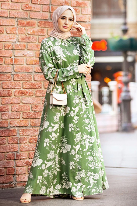 Refka Woman Yeşil Doğal Kumaşlı Çiçek Desenli Elbise