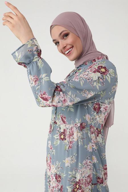 Refka Women Gri Pembe Yakası Bağlamalı Şifon Elbise