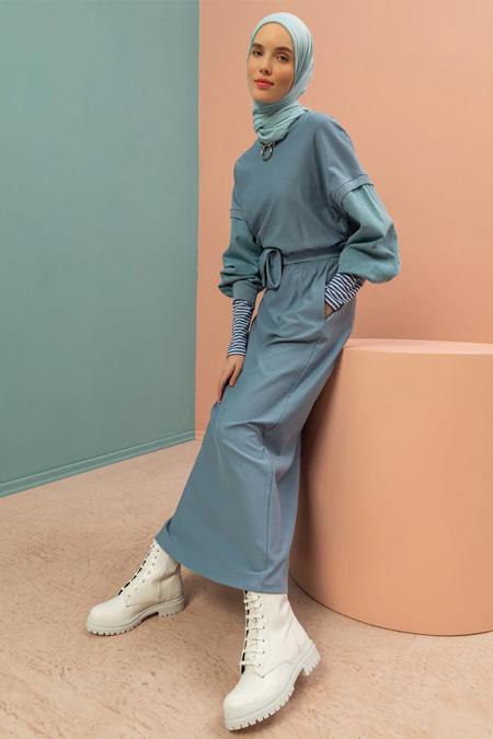 Soul İndigo Kot Detaylı Basic Elbise