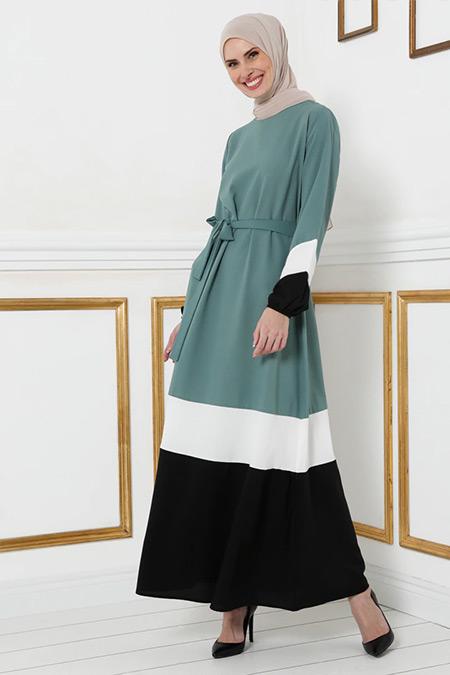 Tavin Küf Yeşili Renk Blok Kuşaklı Elbise