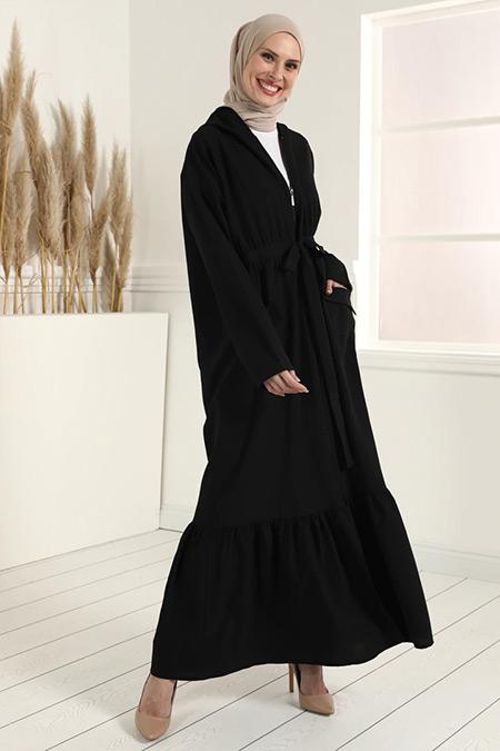 Tavin Siyah Kapüşonlu Cep Detaylı Ferace