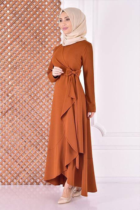 Modamerve Kiremit Kuşaklı Elbise